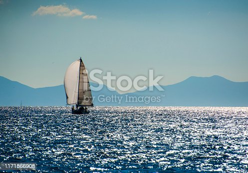 1011210354 istock photo Sailing with white spinnaker 1171866908