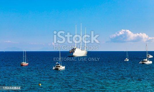 Corfu, Greece - 23 September 2018: Sailing Yacht A SYA one of the biggest sailing yachts designed by Philippe Starck in Ionian sea near Corfu island. Yacht belongs to Russian billionaire Melnichenko.