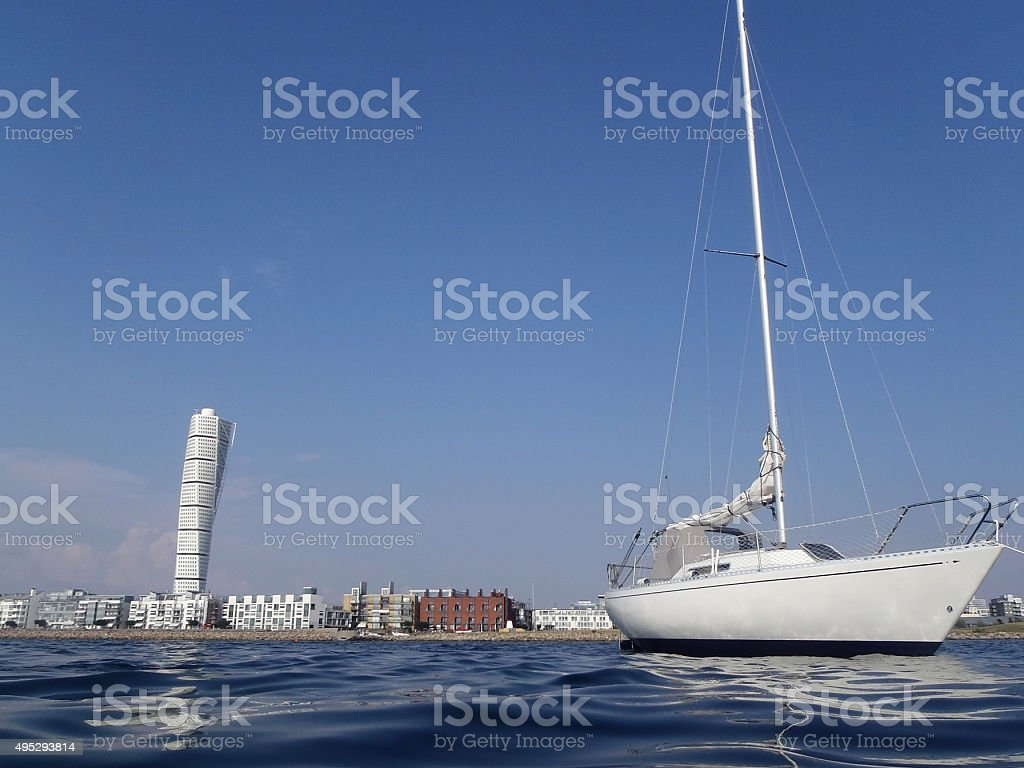 Sailing yacht and Malmo Sweden stock photo