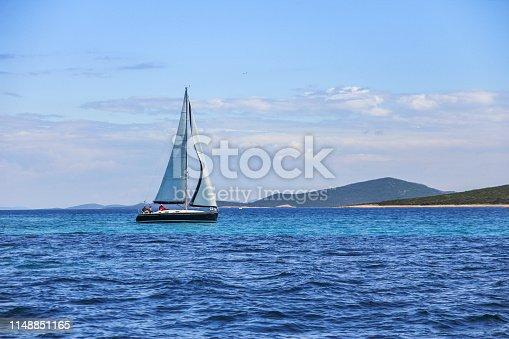 Sailing, yacht at blue sea