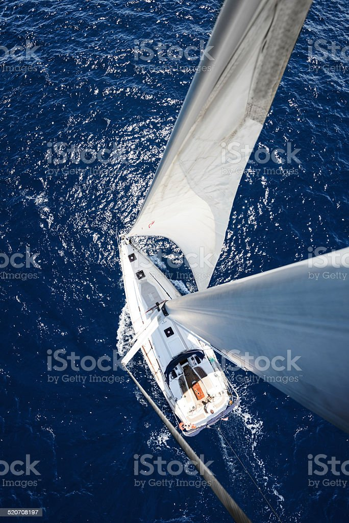 Sailing Yacht from mast at sunny day stock photo