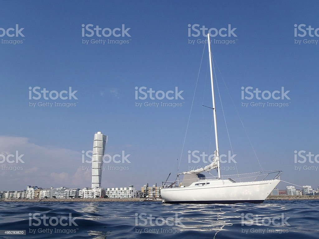Sailing yacht in Malmo Sweden stock photo