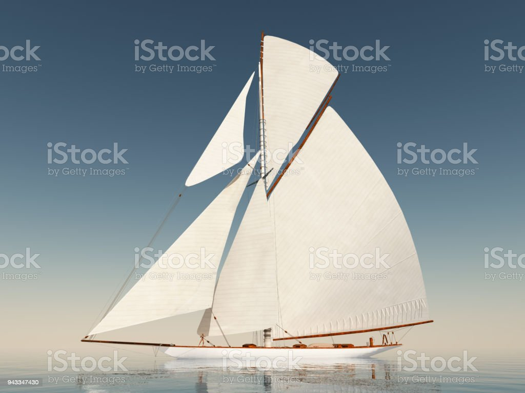Sailing yacht in the open sea stock photo