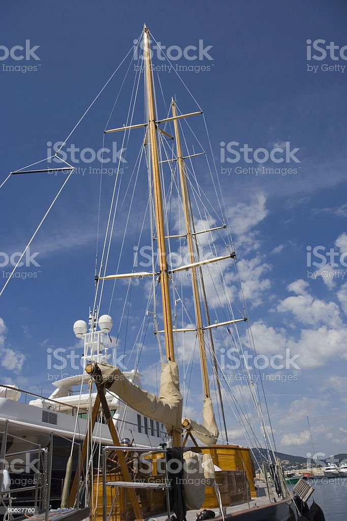 sailing yacht in the port of saint-tropez royalty-free stock photo