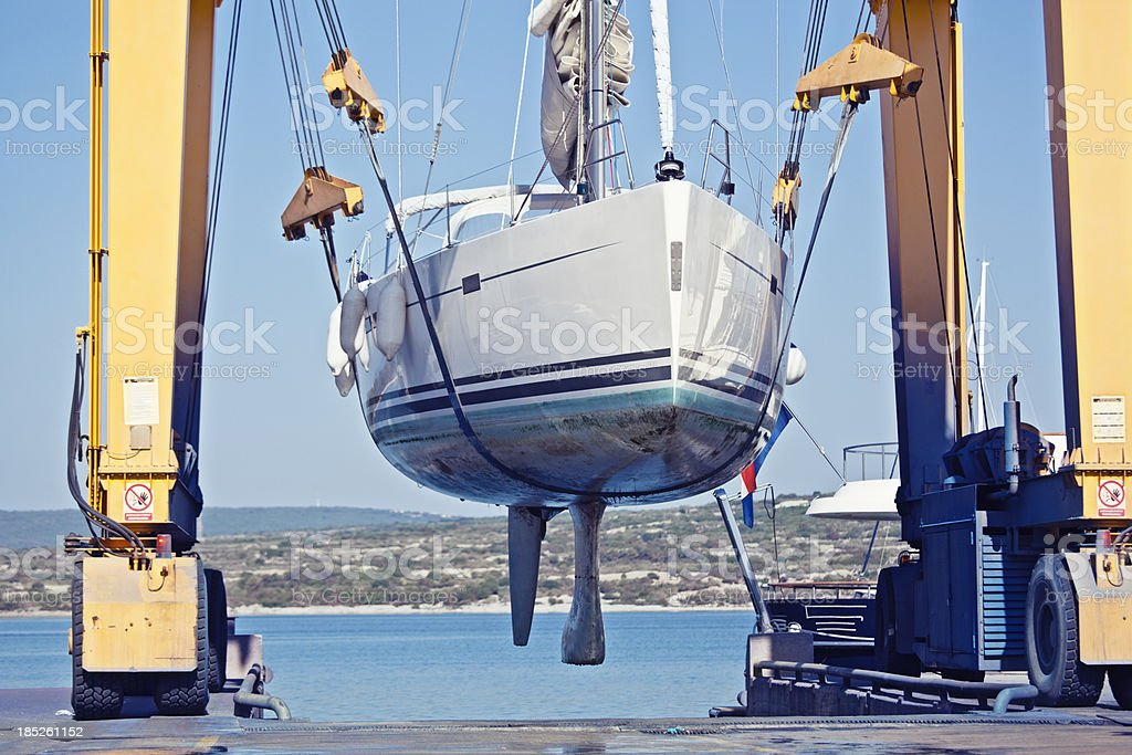 sailing yacht maintenance stock photo