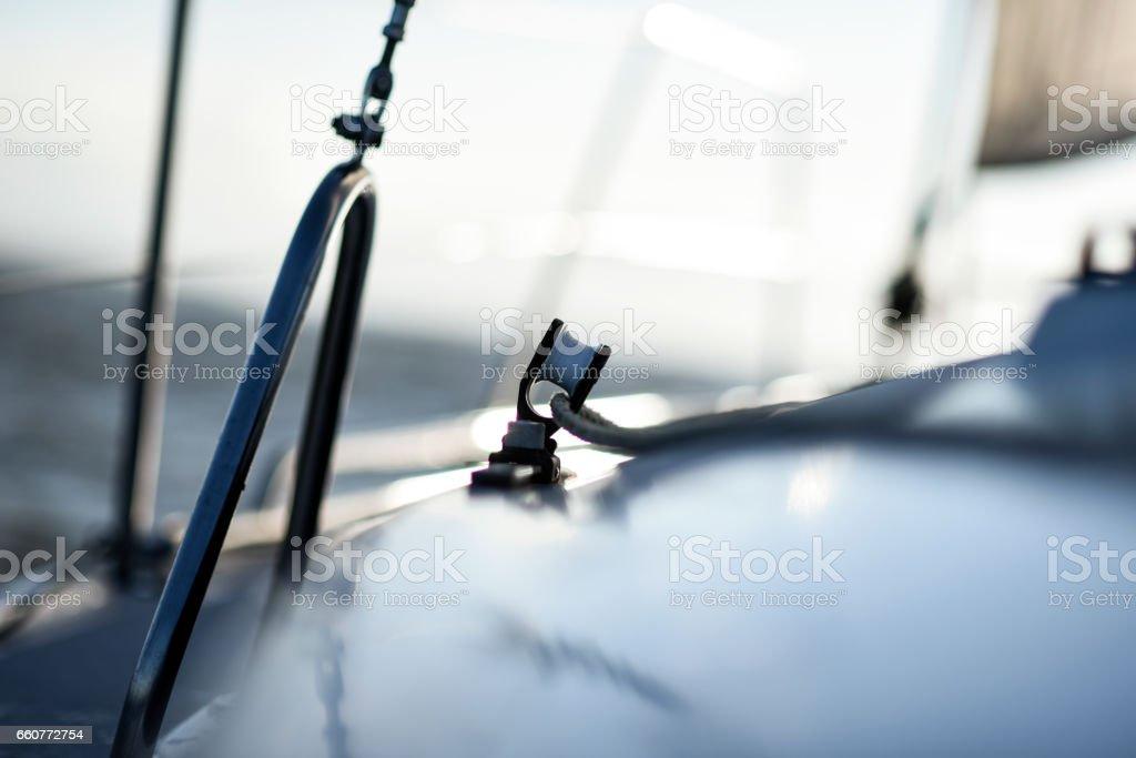 Sailing yacht rigging equipment: main sheet traveller block closeup stock photo