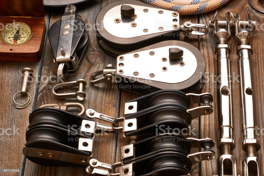 Sailing yacht rigging equipment stock photo
