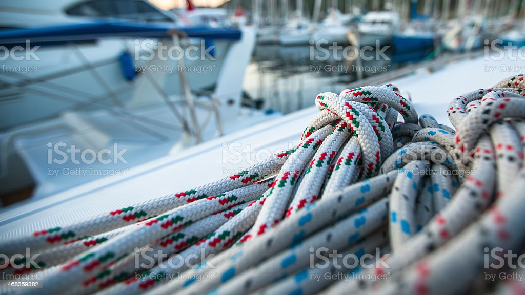 Sailing yacht rigging, ropes closeup. royalty-free stock photo