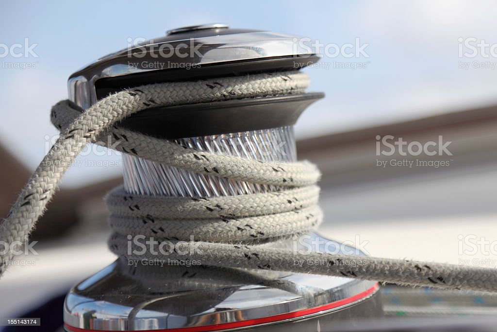sailing yacht rope and winch against sky stock photo