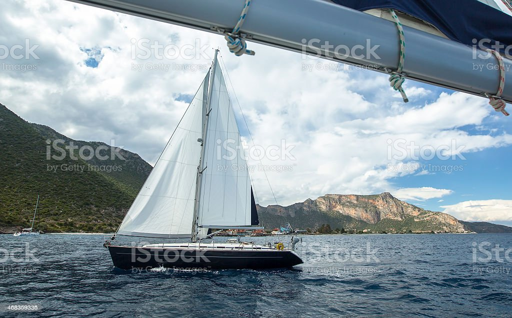 Sailing. Yachting in cloudy weather. Luxury Yacht. royalty-free stock photo