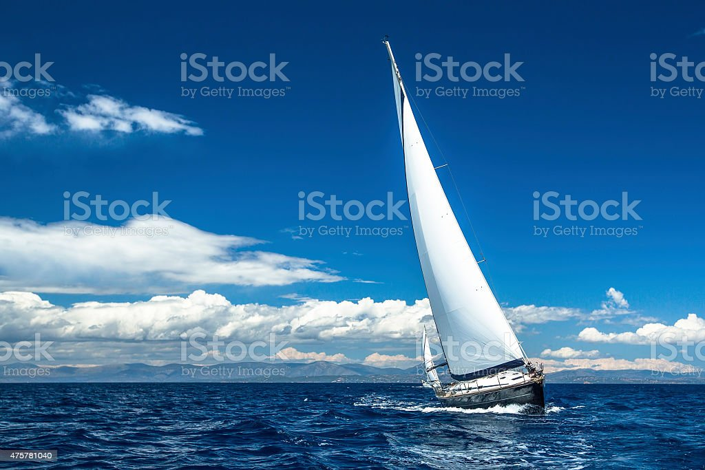 Sailing. Yachting. Sailboats participate in sailing regatta. stock photo