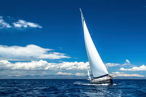 sailing. yachting. sailboats participate in sailing regatta. - sail stock pictures, royalty-free photos & images