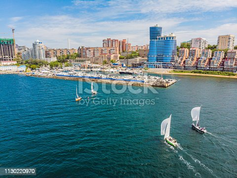 istock Sailing yachts regatta. Series yachts and ships. photo from drone 1130220970