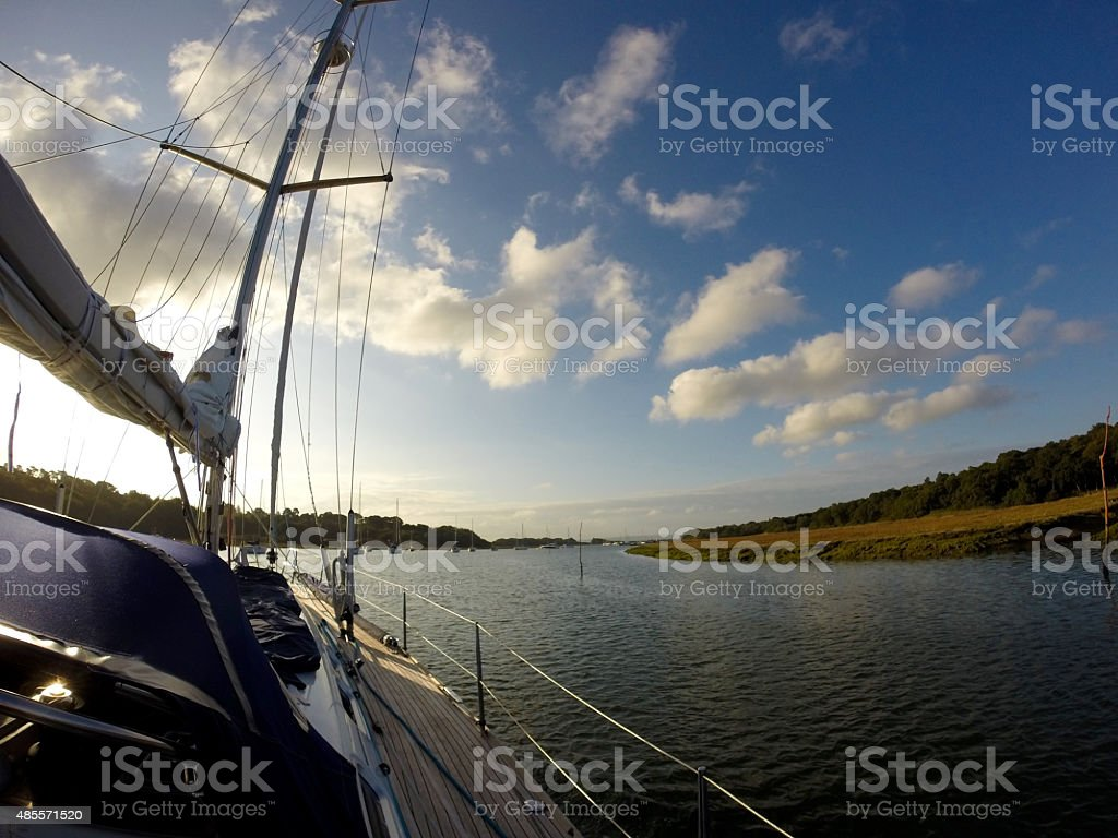 Sailingboat on Solent stock photo