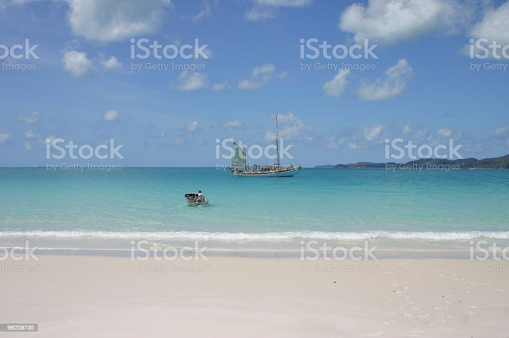 sailingboat on the whiteheaven beach royalty-free stock photo