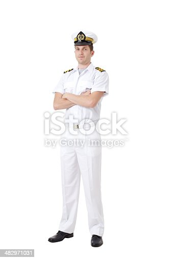 Sailor captain on white - Clipping path included
