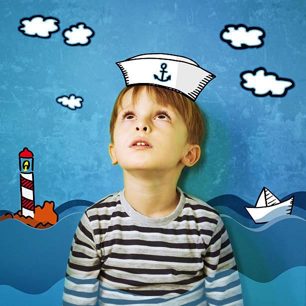 Sailor Child Sailor Child sailor hat stock pictures, royalty-free photos & images