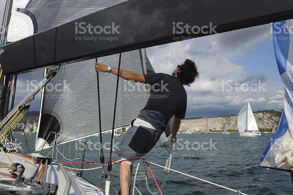 Sailor dirung regatta royalty-free stock photo
