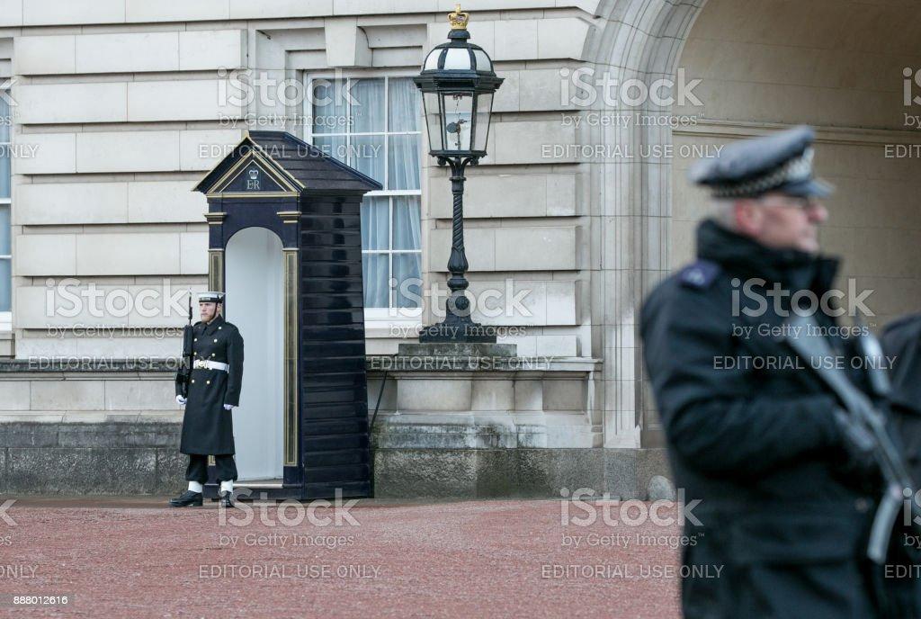 Sailor from the Royal Navy keeping Guard at Buckingham Palace. stock photo