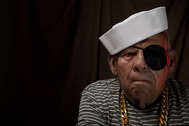 Sailor grandfather Old sailor with rum costume eye patch stock pictures, royalty-free photos & images