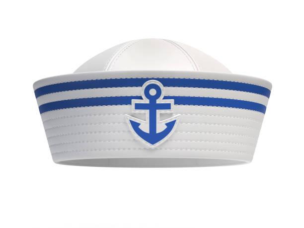 Sailor hat with blue anchor emblem stock photo