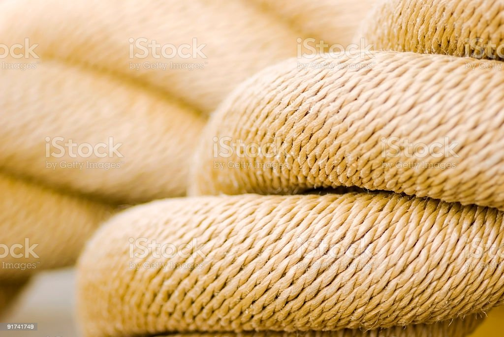 Sailor knot on mooring rope close up royalty-free stock photo