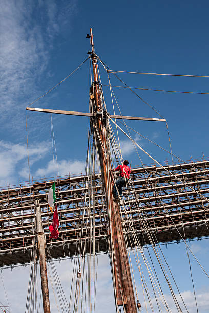 sailor on the rigging tall ship drogheda ireland stock photo