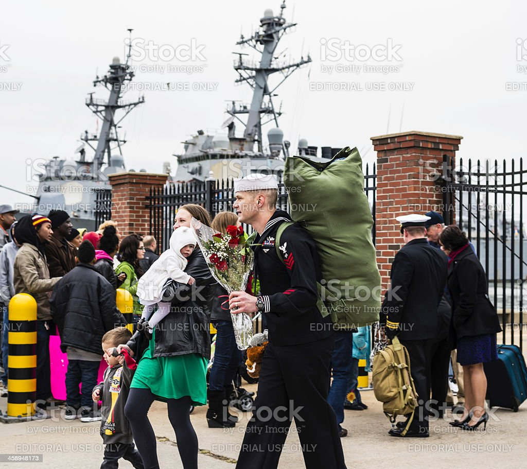 Sailor Returns From Deployment stock photo