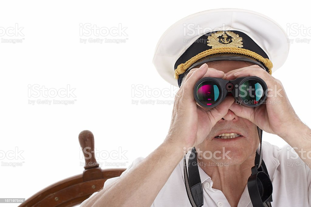 Sailor with binoculars, isolated on white background royalty-free stock photo