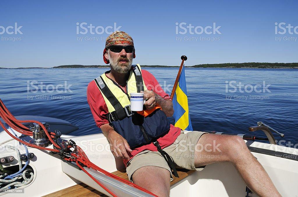 Sailor with coffee mug royalty-free stock photo