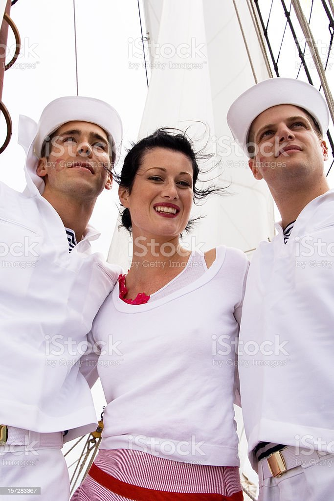Sailors and a girlfriend royalty-free stock photo
