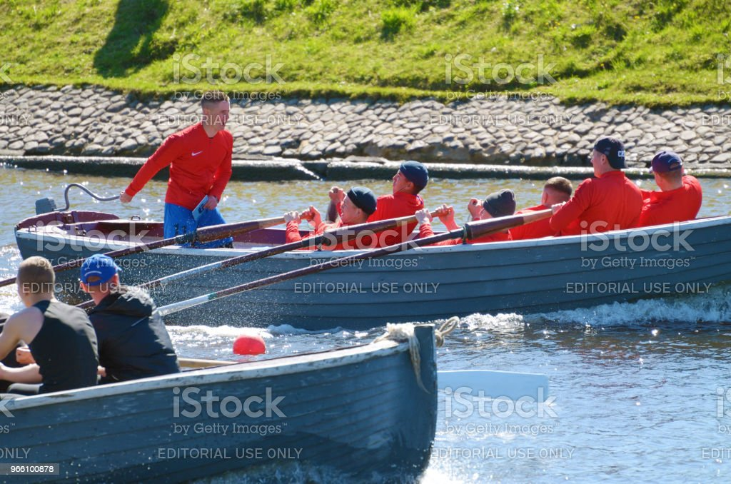 Sailors compete on rowing boats. - Royalty-free Adrenalina Foto de stock