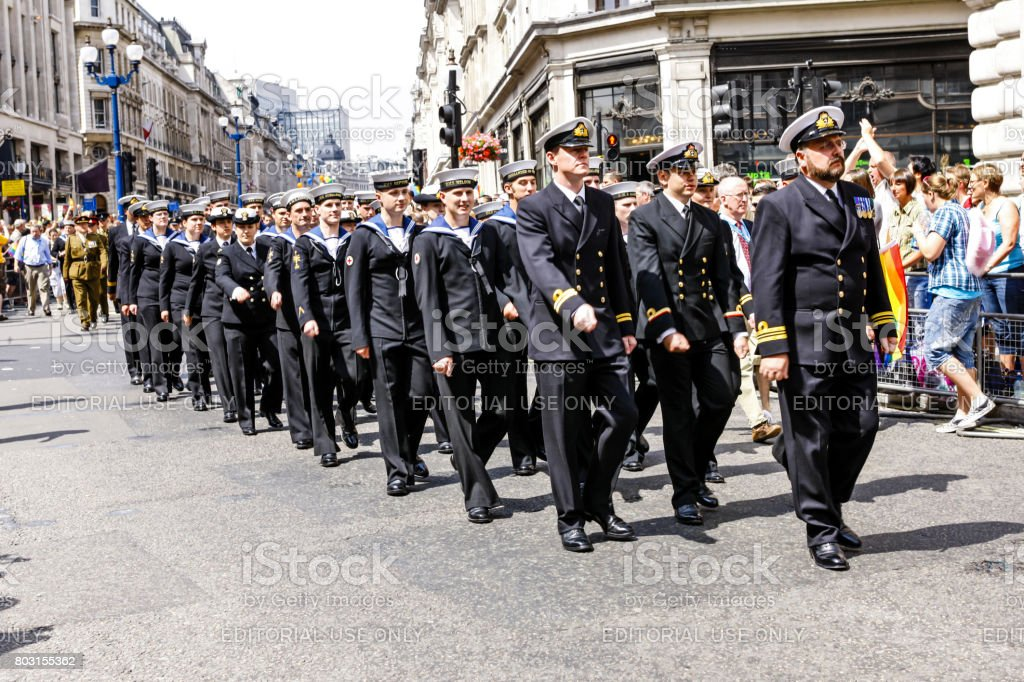 Sailors of the Royal Navy march in the Armed Forces day parade in London UK stock photo