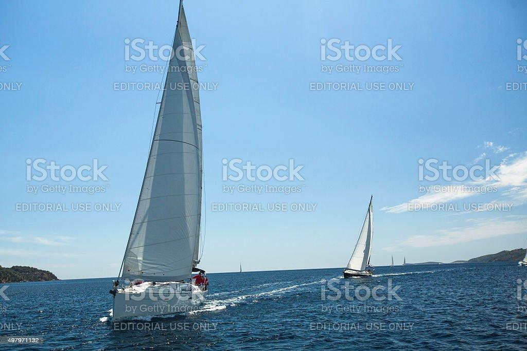 Sailors participate in sailing regatta 12th Ellada stock photo