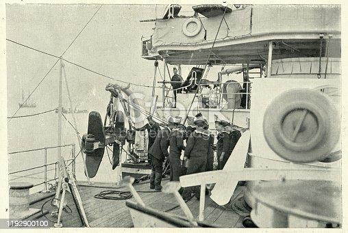 Vintage photograph of Sailors stowing anchor, Royal navy cruiser HMS Theseus, 19th Century