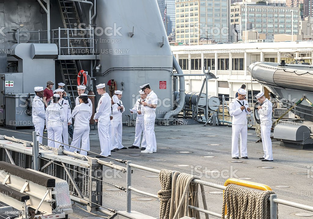 US Sailors - USS Oak Hill in New York City stock photo