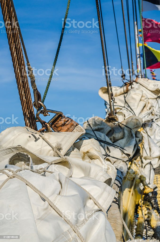 Sails of an old sailing vessel stock photo