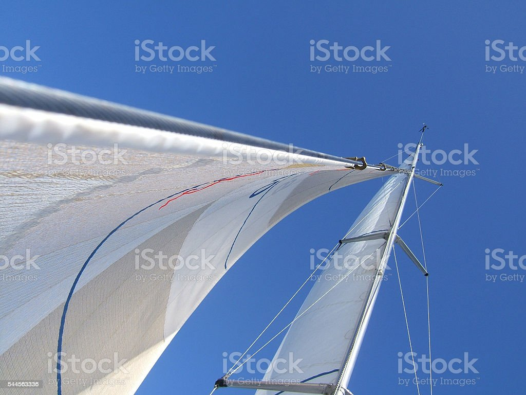 Sails on a sailing yacht stock photo