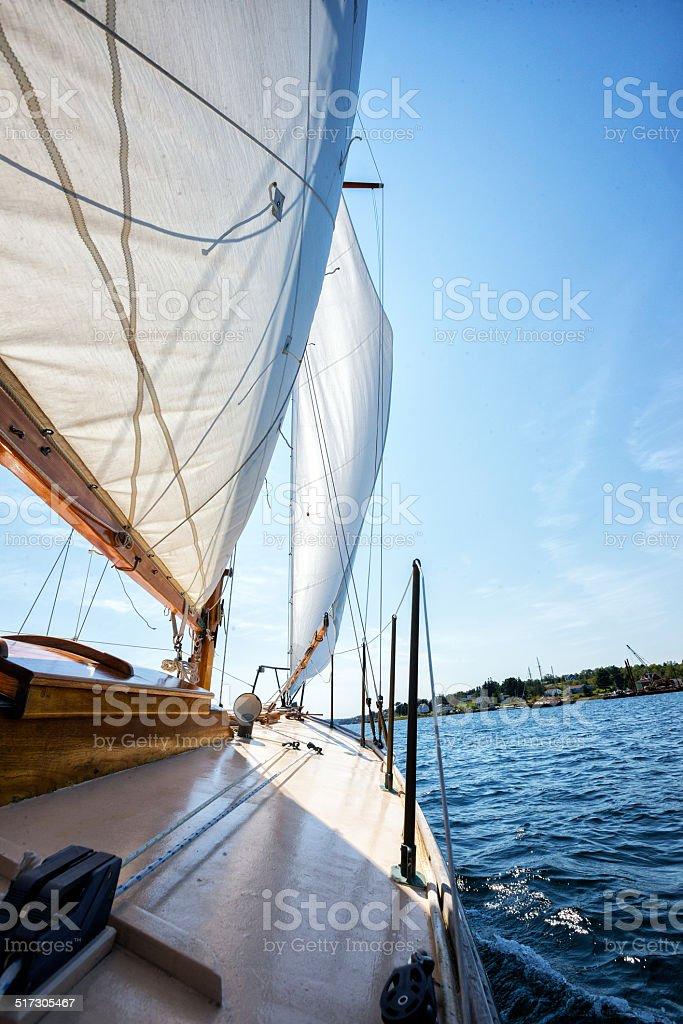 Sails on Sailboat stock photo