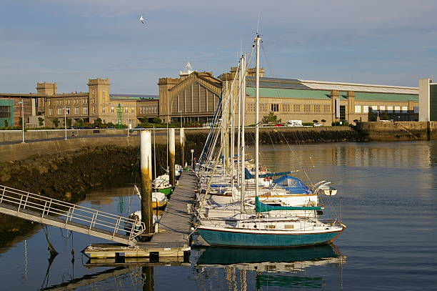 sails Marina with sails leading to the old railway station in Cherbourg, France. cherbourg stock pictures, royalty-free photos & images