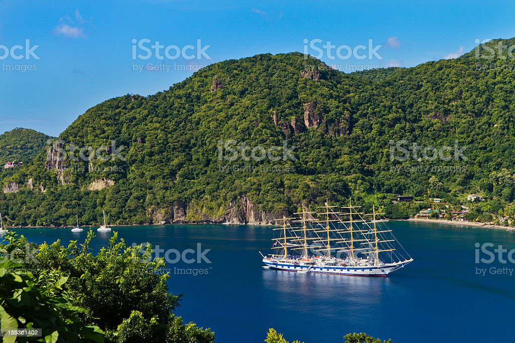 Sailship in Soufrière Bay, Saint Lucia stock photo
