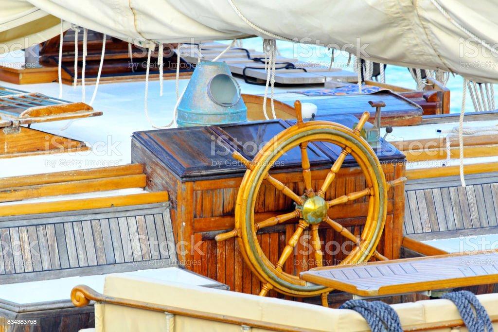 Sailship wheel stock photo