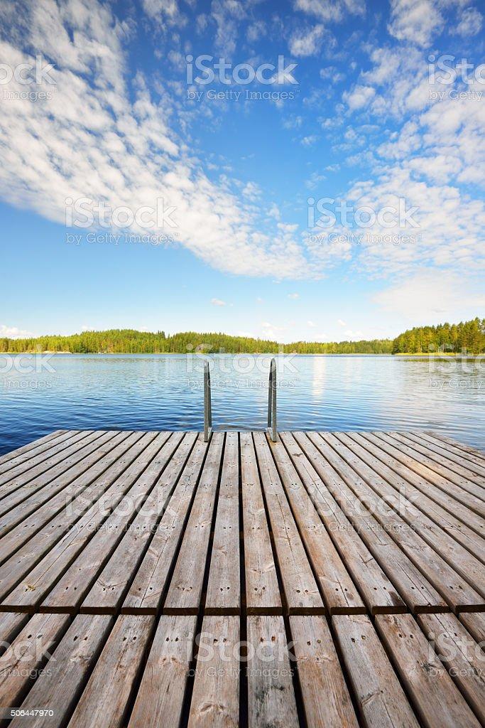 Saimaa lake in Finland stock photo