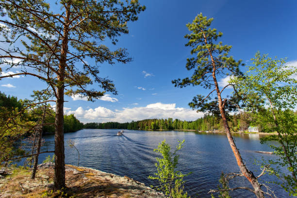 Lago de Saimaa cerca Lappeenranta, Finlandia - foto de stock