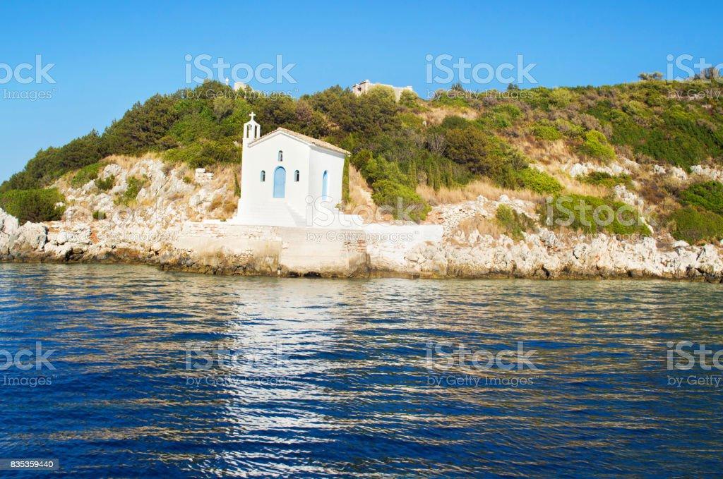 saint Andrew chapel at Ithaca Greece stock photo