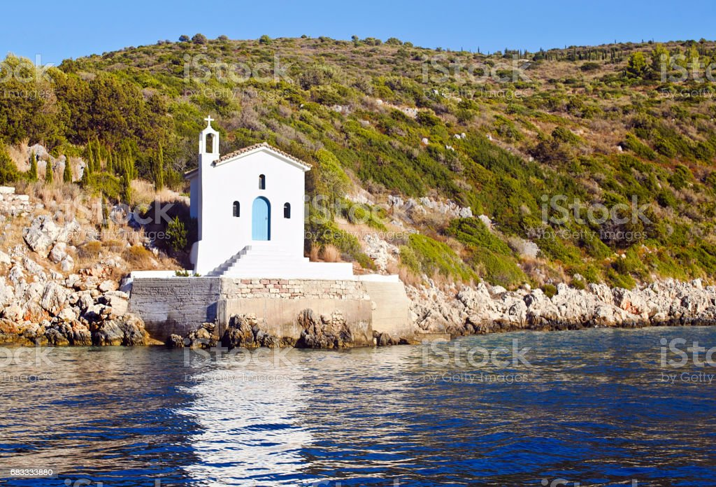 saint Andrew chapel in Ithaca Greece stock photo