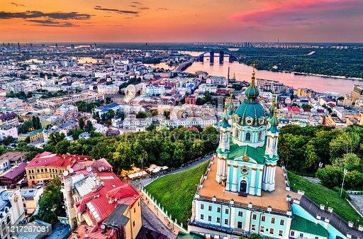 istock Saint Andrew church and Podil in Kiev, Ukraine 1217267081