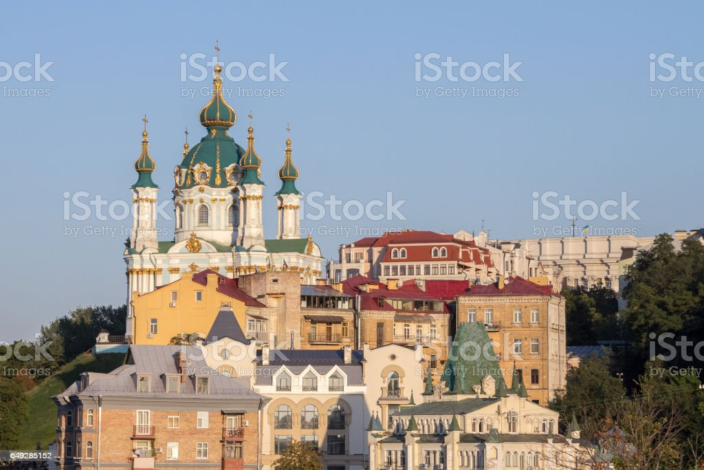 Saint Andrew Church in Kiev, Ukraine, seen from the bottom of the hill of the same name stock photo