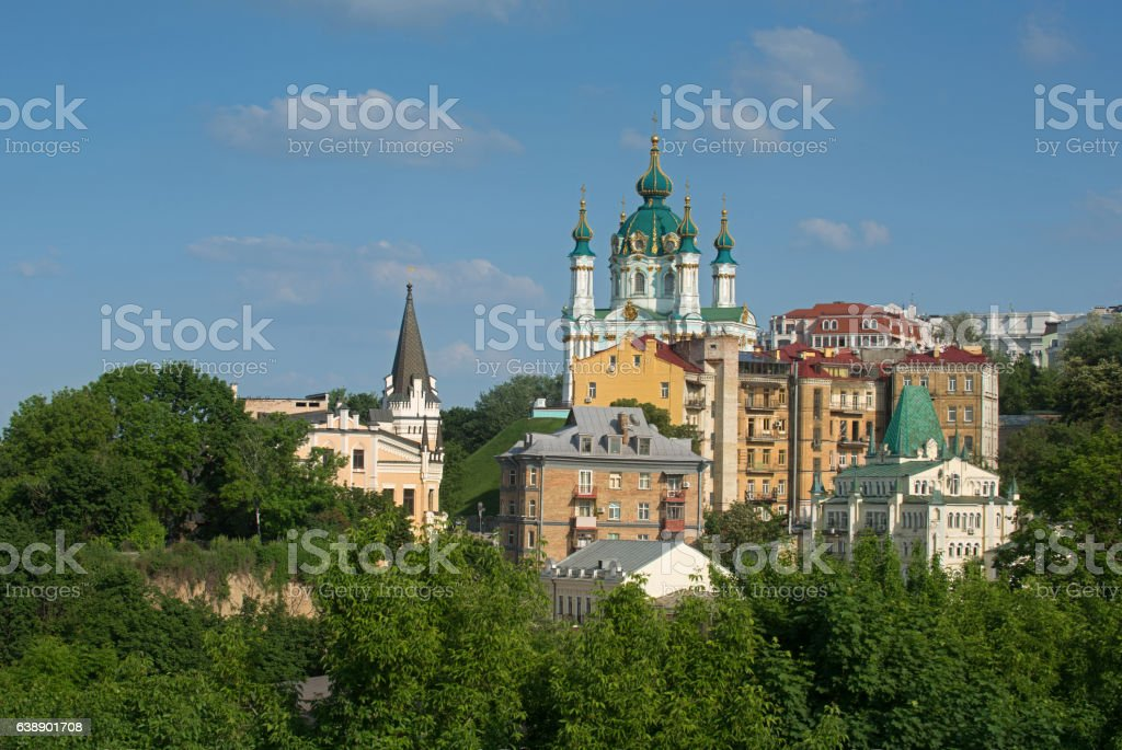 Saint Andrew's Church with other buildings stock photo