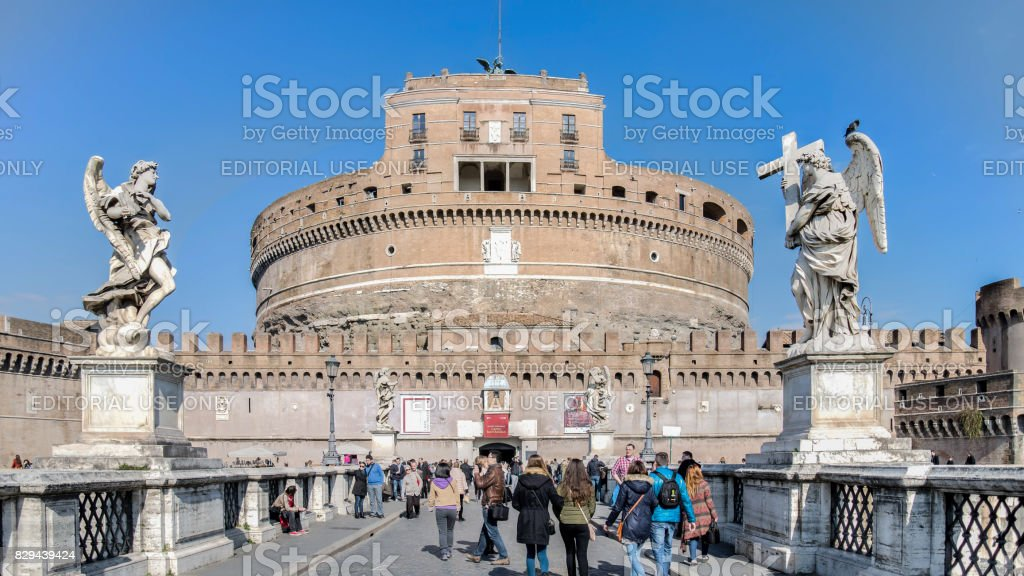 Saint Angel Castle and bridge over the Tiber river in Rome stock photo